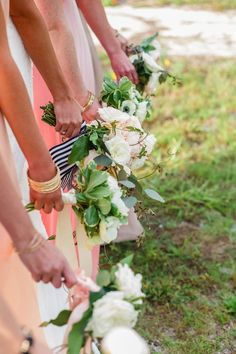 Rachel & Jon-Black and white striped ribbon boquets Photo By Christina Maldonado Photography