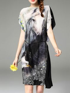 Multicolor Horse Print Tie-Waist Dress -SheIn(abaday)