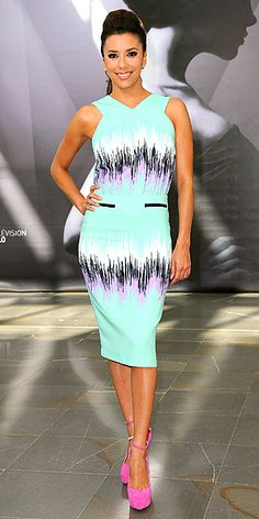 Actress Eva Longoria in Versace dress and gorgeous pink pumps. Replicate this look for less with #justfabonline Tibbie! Original Photo: http://www.lush-fab-glam.com/2012/06/summer-style-trends-look-chic-in.html