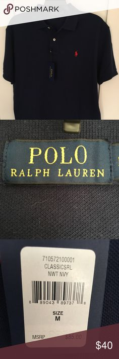 Men's Polo Ralph Lauren Classic Cotton Mesh Brand new.  Never been worn.  NWT.  Short Sleeve.  100% cotton.  Machine washable. Color:  Windsor Navy with Red Embroidered Pony. Polo by Ralph Lauren Shirts Polos