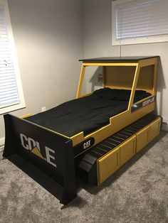Twin size bulldozer bed Construction Bedroom, Toddler Rooms, Baby Boy Rooms, Toddler Bed, Bed Plans, Kids Furniture, Car Bed, Cool Beds, Projects For Kids
