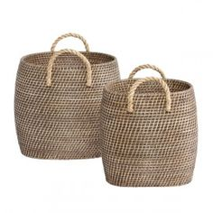 Hübsch Set of 2 Baskets with Jute Handles Jute, Popular Crochet, Faux Bamboo, Basket Bag, Home Living, Storage Baskets, Home Organization, Organizing, Discount Designer