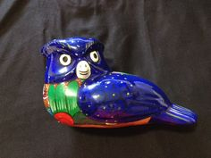 Vintage Folk Art Pottery Blue Owl/Vintage Mexican Ceramic Owl/Hand made Blue Pottery Owl Folk Art Style/Owl Figurine/ - pinned by pin4etsy.com