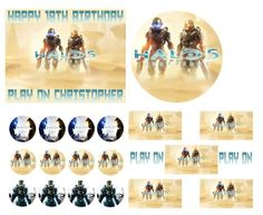 HALO 5 Birthday Cake Frosting Edible Image Toppers, Cupcakes, or Sides by WilsonCakeImaging on Etsy