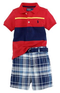 Ralph Lauren Polo & Madras Plaid Shorts Set (Infant)