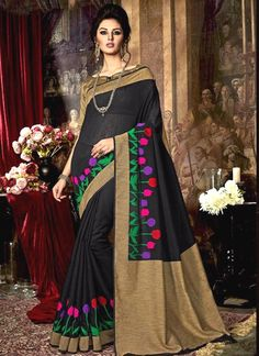 Sunshine Black Weaving Work Traditional  Saree