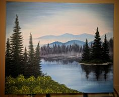 Acrylic Painting Trees, Lake Painting, Forest Painting, Mountain Paintings, Nature Paintings, Landscape Paintings, Tree Paintings, Pencil Sketches Landscape, Lake Landscaping