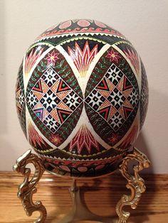 Ostrich Egg Pysanky by PysankyByBekah Ukrainian Easter Eggs, Egg Designs, Egg Art, Egg Decorating, Egg Shells, Easter Bunny, Arts And Crafts, Carving, Craft Ideas