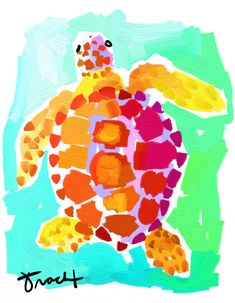 Art Print 16x20 Sea Turtle by Kelly Tracht, Lilly Pulitzer Style Painting Palm Beach Regency