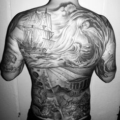 Wave tattoos for men has the ability to immortalize most of your best moments in the ocean and they are visually appealing. Find the best ideas! Cool Back Tattoos, Back Tattoos For Guys, Back Tattoo Women, Body Art Tattoos, Tattoo Drawings, Sleeve Tattoos, Water Tattoos, Thigh Tattoos, Irezumi Tattoos