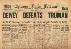 """Truman brandished the front page of the Chicago Daily Tribune newspaper that falsely trumpeted his opponent's triumph in the presidential election – """"Dewey Defeats Truman"""" it read. Description from . I searched for this on /images Us History, Family History, American History, History Major, Newspaper Article, Old Newspaper, Tribune Newspaper, City Pages"""
