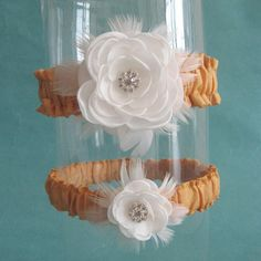 gold and white silk wedding garter