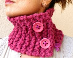 SALE Magenta Scarf Raspberry Fuschia Pink Cowl Hand by warmandsoft