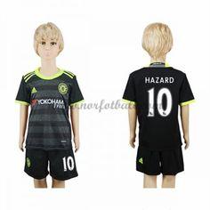 Billige Fotballdrakter Chelsea 2016-17 Hazard 10 Barn Borte Draktsett Kortermet