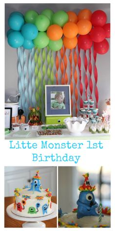 Little Monster themed 1st Birthday party with ballon and streamer backdrop and monster topper cake and cupcakes