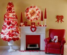 Repurpose a Christmas tree into a Valentine's Day Tree. Valentine Home Decor Ideas on Frugal Coupon Living. Valentine's day Mantlescape. Valentine Mantle. Valentine Tree. Christmas tree for Valentine's Day.