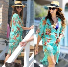 Chinatown Style  Long floral print kimono, pefect for a pool day.   Worldwide shipping