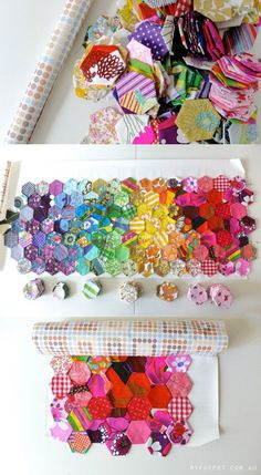 How to save your random patchwork epp layout - arrange patchwork pieces on contact paper to keep organized