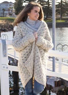 Coastal Fog Chunky Cardigan - Crochet Pattern by Hopeful Honey