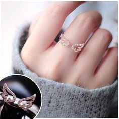 Gold/Silver Wings Ring SE11176      Use coupon code #cutekawaii for 10% off     #ring #anime #sailormoon #giftideas #gift #ootd