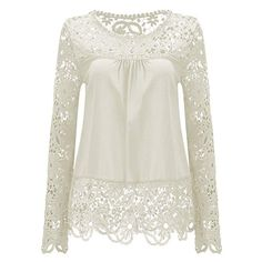 53e3d4bd9102d AvaCostume Womens Lace Shoulder Long Sleeve Blouse T Shirt Casual Lace Tops     Learn more