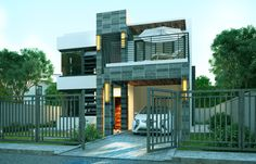 Pinoy House Design 2015020 is a two storey Contemporary house design which speaks elegance and sophistication considering the attention paid in the exterior details and choice of materials used in the construction of the building. 2 Bedroom House Plans, Dream House Plans, Modern House Plans, 2 Storey House Design, Two Storey House, Minimalist House Design, Modern House Design, Modern Minimalist, Plans Architecture
