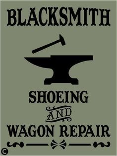 Primitive STENCIL, BLACKSMITH, Shoeing & Wagon Repair, Country, Western, Farm #AmericanaPrimitiveStencils