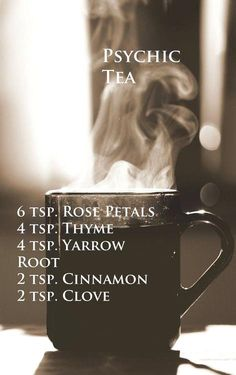 Magical recipe for psychic tea, good for reading tarot or scrying! Plus it is just delicious and relaxing to drink! And all of those herbs are true staples to a well-stocked herb-cabinet Wiccan Spells, Magick, Green Witchcraft, Hoodoo Spells, Easy Spells, Candle Spells, Under Your Spell, Kitchen Witchery, My Sun And Stars