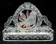 Hofbauer Ruby Red Byrdes Birds Napkin Holder Lead Crystal Germany #Hofbauer