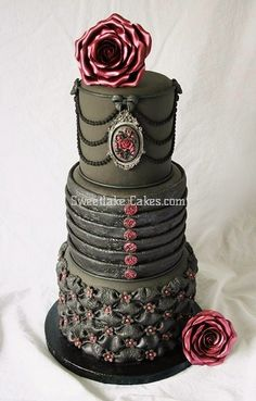Gothic black wedding cake