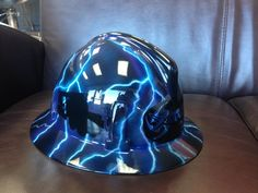 Custom ordered airbrushed hard hat for a local business! Yes, that is a picker truck on the side!