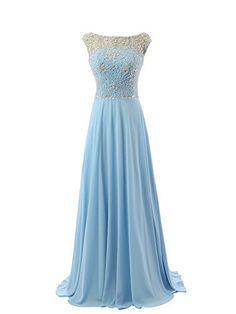 MicBridal® Hellblau Lang Chiffon Abendkleid Ballkleid mit Strass und Schleppe (38, Hellblau)