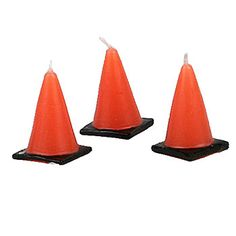 Caution, these 1 3/4 inch tall x 1 inch wide Under Construction Cone Candles are perfect for your Construction themed event!