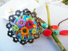 Party of colors polymer clay flower necklace by flowersy on Etsy, $52.00
