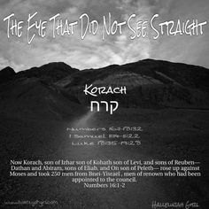 The Eye That Did Not See Straight  Little Yisrael, who as later to grow up to become the famous R'Yisrael of Husyatin, was learning Parashah Korach, where Rashi notes, Korach was clever. Why then did he act so foolishly? Because his eye deceived him.  The boy tuned to his teacher, Rabbi Yochanan, and ask, Why does Rashi use the singular--his eye--and not 'eyes'? A person has two eyes.  A good question. Answer it yourself! Said the teacher.  The boy had a ready reply: Why was Man created ...
