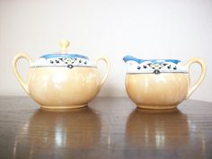 Vintage Lusterware Creamer and Covered Sugar by vintagekitchenhome