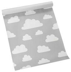 Behang Wolken - Grijs