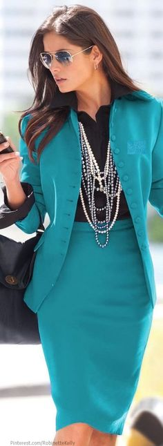 Office Style | Teal Suit ~Latest Luxurious Women's Fashion - Haute Couture - dresses, jackets. bags, jewellery, shoes etc