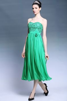 green_strapless_sweetheart_beaded_cocktail_dresses