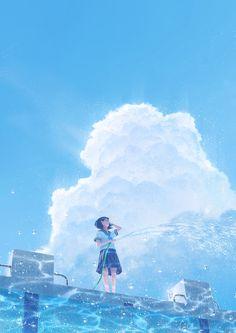 Media Tweets by Tamaki (@ta_ma_ky) / Twitter Wallpaper Animes, Anime Scenery Wallpaper, Animes Wallpapers, Pretty Art, Cute Art, Aesthetic Art, Aesthetic Anime, Sky Anime, Japon Illustration