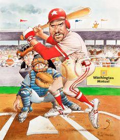 SWING BATTER SWING! Diamonds In The Sky, Baseball Art, Sports Figures, Sports Art, Feature Film, Satire, Comic Art, Illustrators, Original Artwork