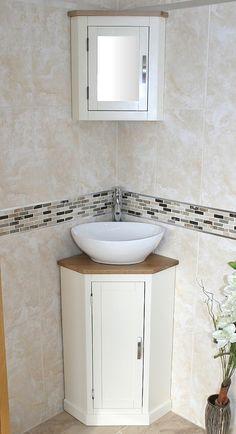 Ceramic or Glass Basin to Finish This Corner Oak Top Painted Vanity Unit Corner Vanity Unit, Corner Bathroom Vanity, Glass Bathroom, Bathroom Layout, Oak Bathroom, Corner Basin, Sink Vanity Unit, Floating Bathroom Vanities, Vanity Basin