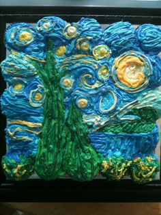 My daughter Lisa's cupcake art! VanGogh's Starry Night