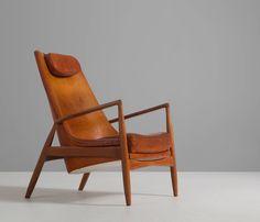Original Kofod Larsen High Back 'Seal' Chair in Cognac Leather Mcm Furniture, Dream Furniture, Furniture Design, Armchairs, Sofas, Danish Armchair, High Back Armchair, Wood Arm Chair, Ergonomic Office Chair