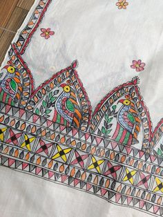 1 new message Madhubani Paintings Peacock, Madhubani Art, Indian Art Paintings, Fabric Painting On Clothes, Dress Painting, Painted Clothes, Hand Embroidery Patterns Flowers, Hand Embroidery Dress, Hand Embroidery Designs