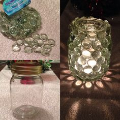 Glass stones and a mason jar/ glass container for a reflective candle holder