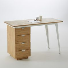 HIBA skrivbord med industriell stil Pine & Metal - home/mobel Mesa Home Office, Home Office Computer Desk, Home Office Space, Office Table, Timber Furniture, Modular Furniture, Furniture Showroom, Office Furniture, Home Furniture