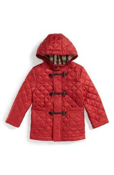 Burberry 'Boris' Quilted Hooded Jacket (Toddler Girls) available at #Nordstrom