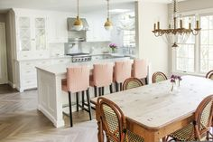 Caitlin Wilson Design kitchen hicks pendants herringbone wood floor