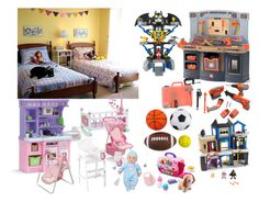 """""""Connor and Rachel's room and toys"""" by satandaughter ❤ liked on Polyvore featuring interior, interiors, interior design, home, home decor, interior decorating, KidKraft, Badger Basket and VTech"""